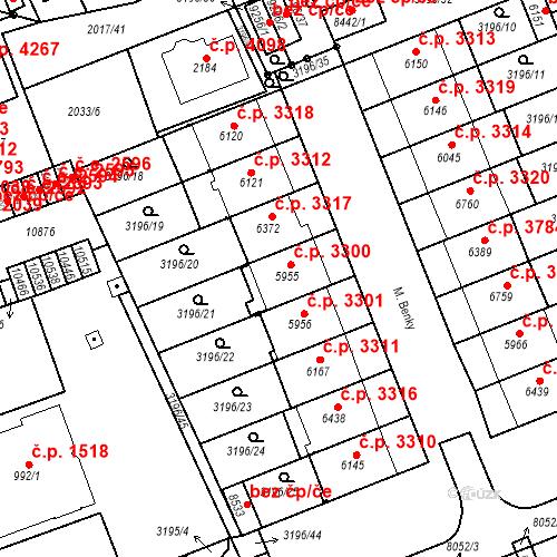 Katastrální mapa Stavební objekt Hodonín 3300, Hodonín