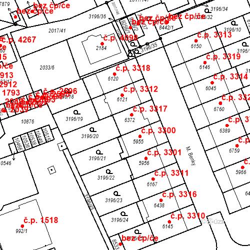 Katastrální mapa Stavební objekt Hodonín 3317, Hodonín