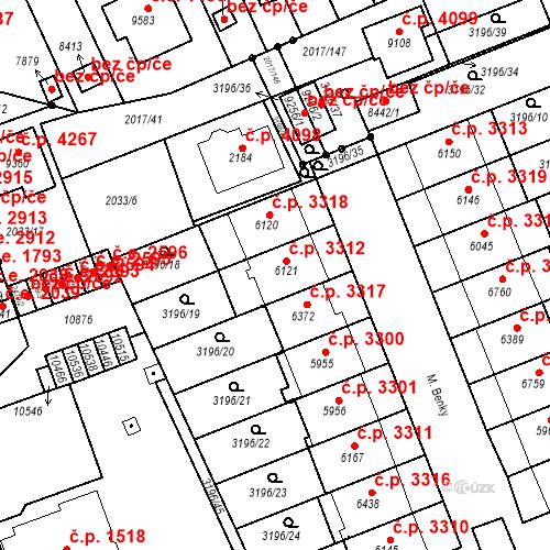 Katastrální mapa Stavební objekt Hodonín 3312, Hodonín