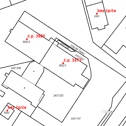 Katastrální mapa Stavební objekt Hodonín 3273, Hodonín