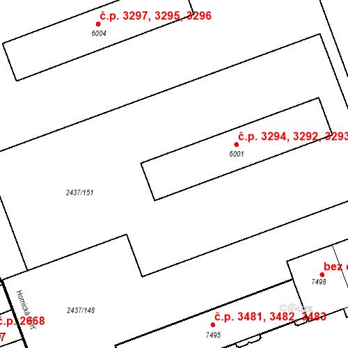 Katastrální mapa Stavební objekt Hodonín 3292, 3293, 3294, Hodonín