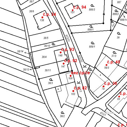 Katastrální mapa Stavební objekt Ostrovánky 92, Ostrovánky