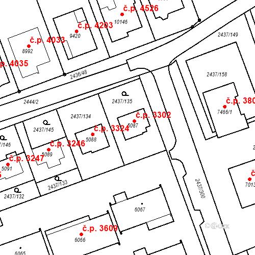 Katastrální mapa Stavební objekt Hodonín 3302, Hodonín