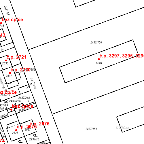 Katastrální mapa Stavební objekt Hodonín 3295, 3296, 3297, Hodonín