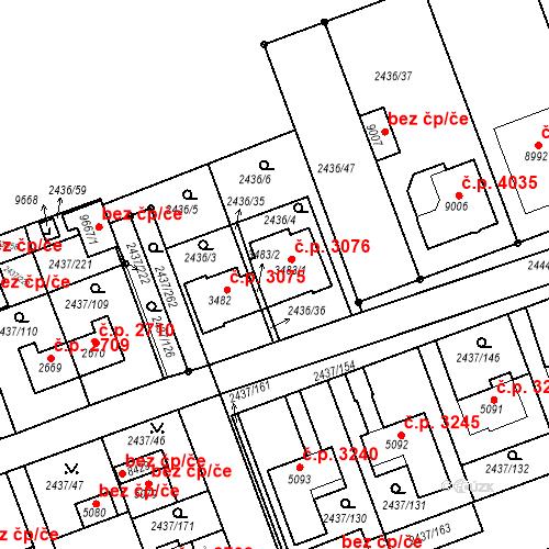 Katastrální mapa Stavební objekt Hodonín 3076, Hodonín