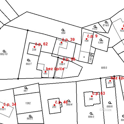 Katastrální mapa Stavební objekt Kandia 58, Laškov