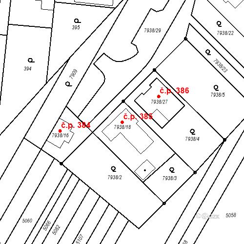 Katastrální mapa Stavební objekt Lovčice 385, Lovčice