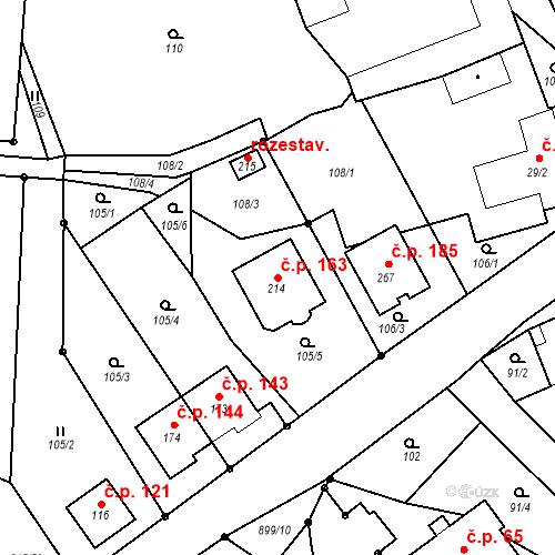 Katastrální mapa Stavební objekt Luká 163, Luká