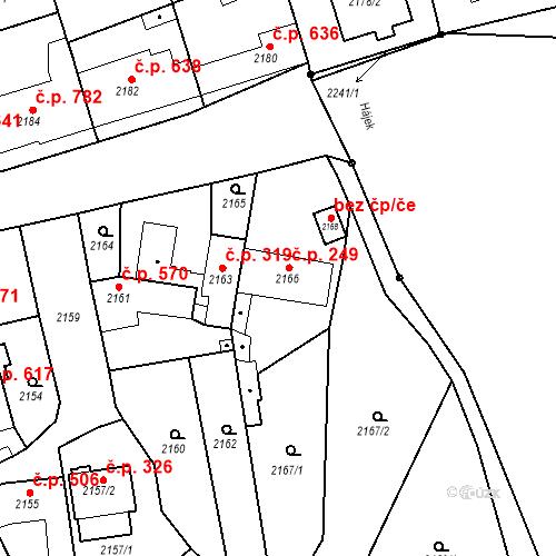 Katastrální mapa Stavební objekt Bučovice 249, Bučovice