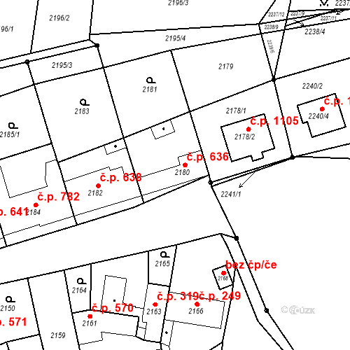 Katastrální mapa Stavební objekt Bučovice 636, Bučovice