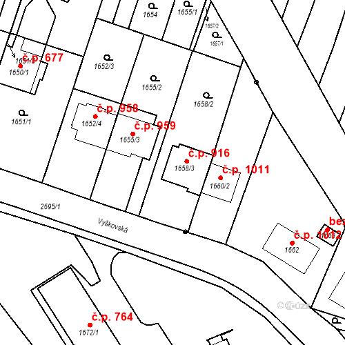 Katastrální mapa Stavební objekt Bučovice 916, Bučovice