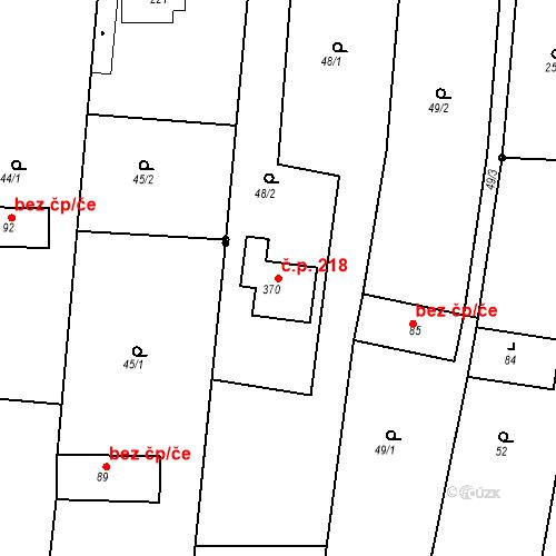 Katastrální mapa Stavební objekt Vícov 218, Vícov