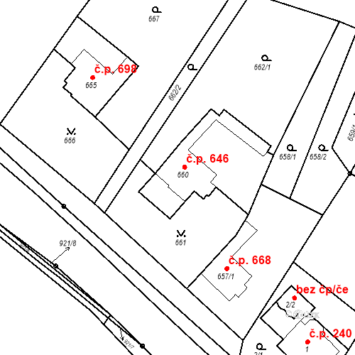 Katastrální mapa Stavební objekt Bučovice 646, Bučovice