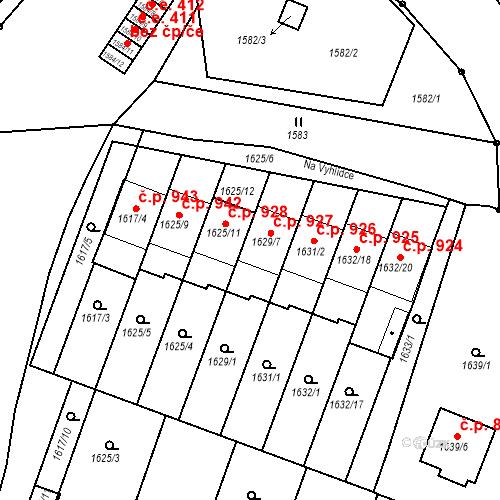 Katastrální mapa Stavební objekt Bučovice 927, Bučovice