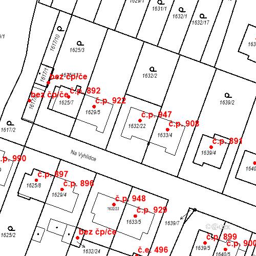Katastrální mapa Stavební objekt Bučovice 947, Bučovice