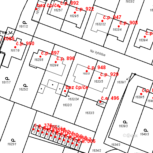Katastrální mapa Stavební objekt Bučovice 948, Bučovice