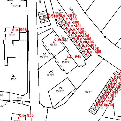 Katastrální mapa Stavební objekt Bučovice 945, Bučovice