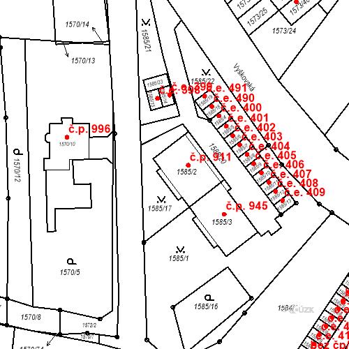 Katastrální mapa Stavební objekt Bučovice 911, Bučovice