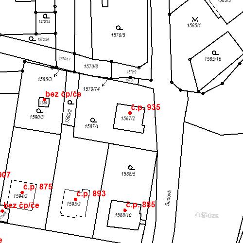 Katastrální mapa Stavební objekt Bučovice 935, Bučovice