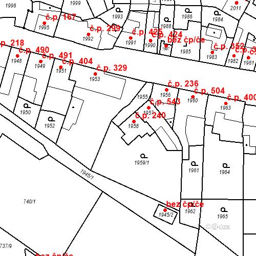 Katastrální mapa Stavební objekt Bučovice 240, Bučovice