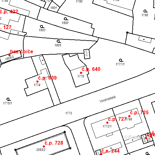 Katastrální mapa Stavební objekt Bučovice 640, Bučovice