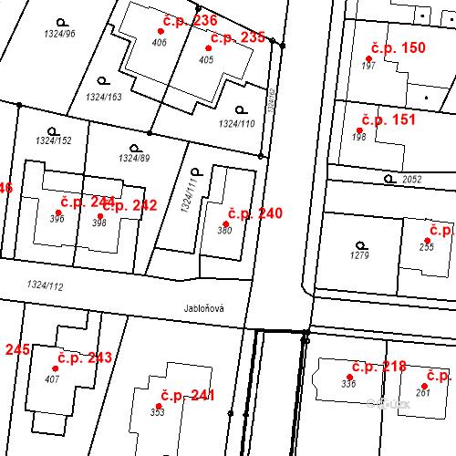 Katastrální mapa Stavební objekt Kloboučky 240, Bučovice