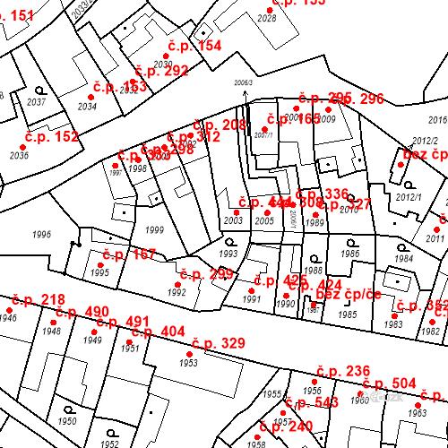 Katastrální mapa Stavební objekt Bučovice 444, Bučovice