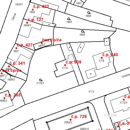 Katastrální mapa Stavební objekt Bučovice 639, Bučovice