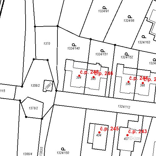 Katastrální mapa Stavební objekt Kloboučky 248, Bučovice