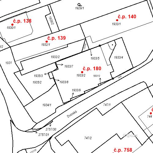 Katastrální mapa Stavební objekt Bučovice 180, Bučovice