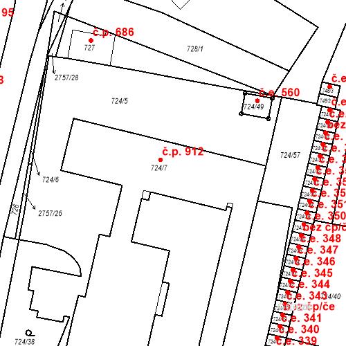 Katastrální mapa Stavební objekt Bučovice 912, Bučovice