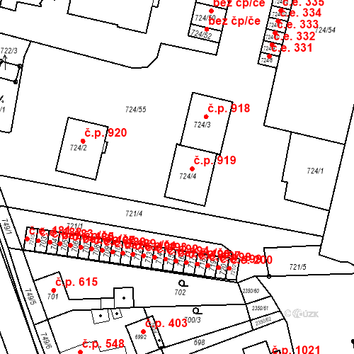 Katastrální mapa Stavební objekt Bučovice 919, Bučovice