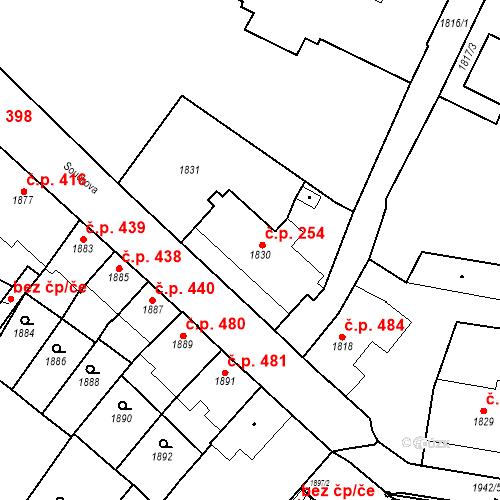 Katastrální mapa Stavební objekt Bučovice 254, Bučovice