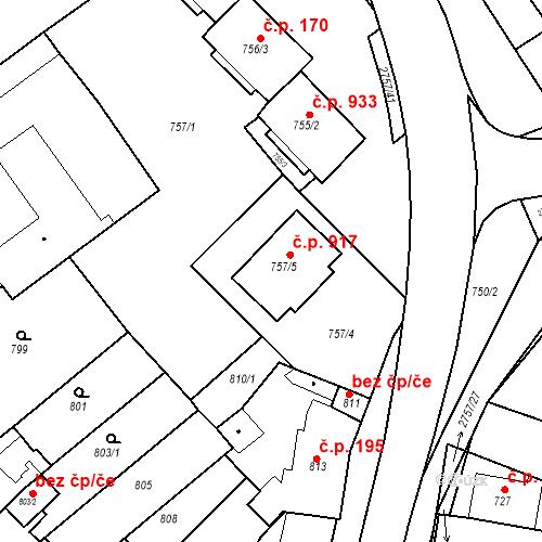 Katastrální mapa Stavební objekt Bučovice 917, Bučovice