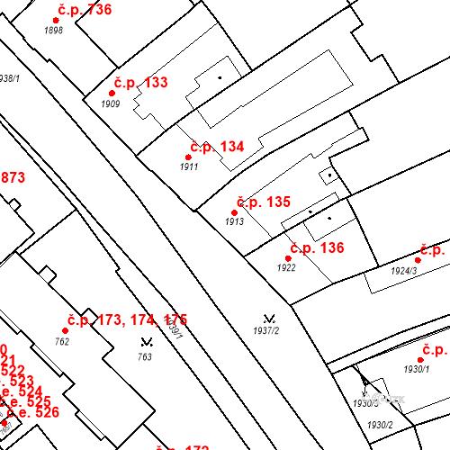Katastrální mapa Stavební objekt Bučovice 135, Bučovice