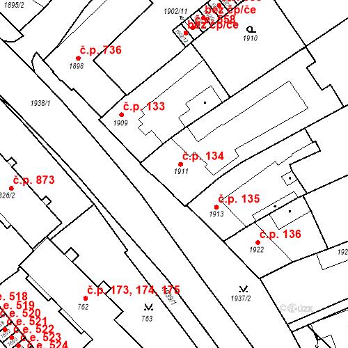 Katastrální mapa Stavební objekt Bučovice 134, Bučovice
