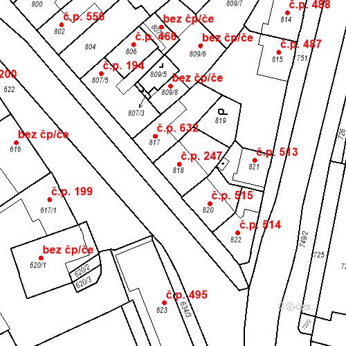 Katastrální mapa Stavební objekt Bučovice 247, Bučovice