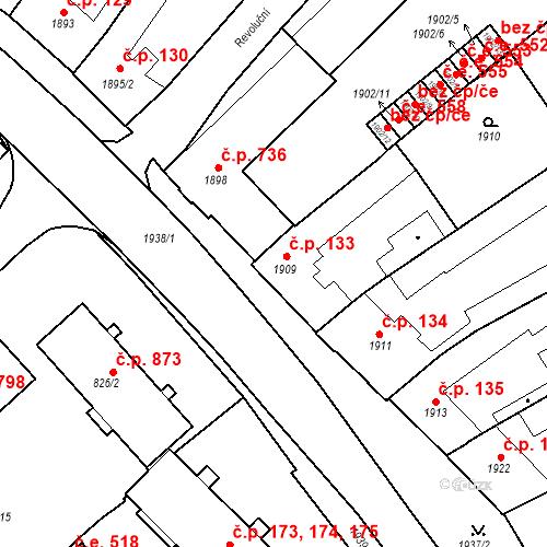 Katastrální mapa Stavební objekt Bučovice 133, Bučovice