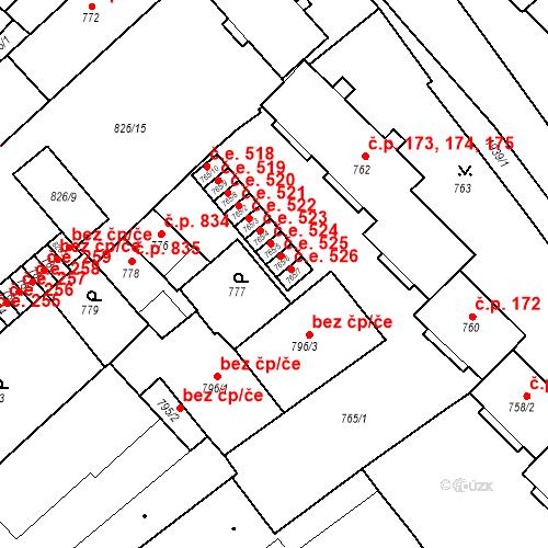 Katastrální mapa Stavební objekt Bučovice 525, Bučovice