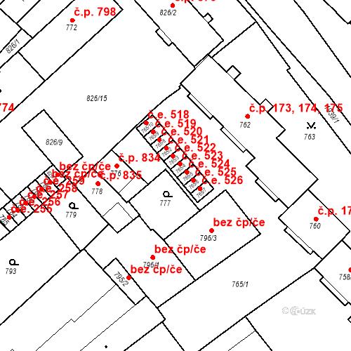Katastrální mapa Stavební objekt Bučovice 523, Bučovice