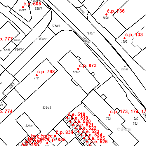 Katastrální mapa Stavební objekt Bučovice 873, Bučovice