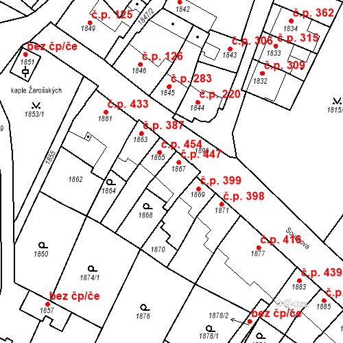 Katastrální mapa Stavební objekt Bučovice 447, Bučovice