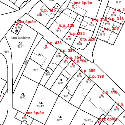 Katastrální mapa Stavební objekt Bučovice 454, Bučovice