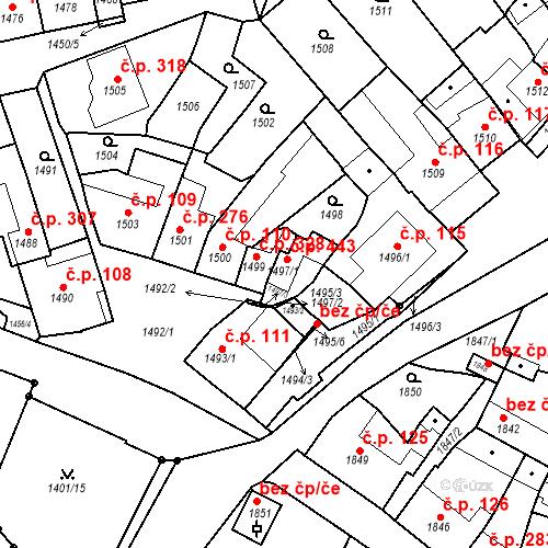 Katastrální mapa Stavební objekt Bučovice 443, Bučovice