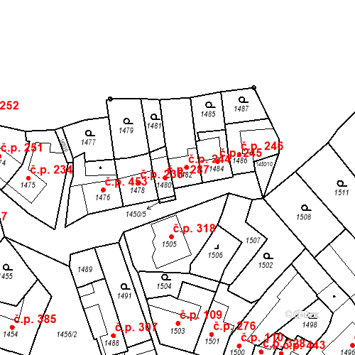 Katastrální mapa Stavební objekt Bučovice 244, Bučovice
