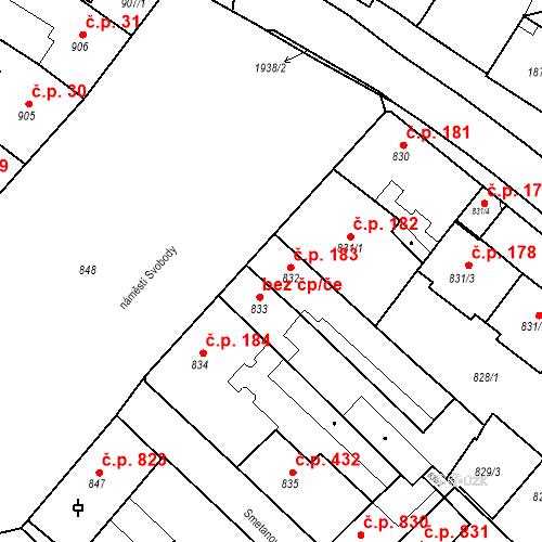 Katastrální mapa Stavební objekt Bučovice 183, Bučovice