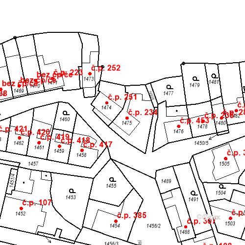 Katastrální mapa Stavební objekt Bučovice 234, Bučovice