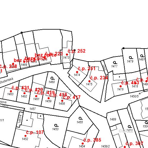 Katastrální mapa Stavební objekt Bučovice 251, Bučovice