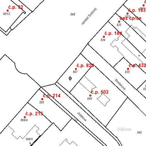 Katastrální mapa Stavební objekt Bučovice 823, Bučovice