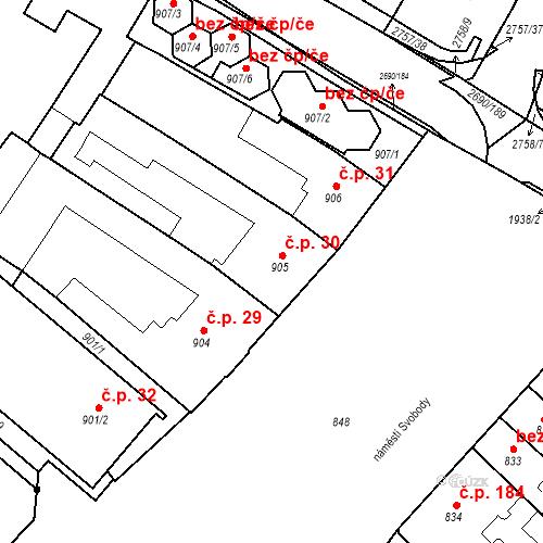 Katastrální mapa Stavební objekt Bučovice 30, Bučovice